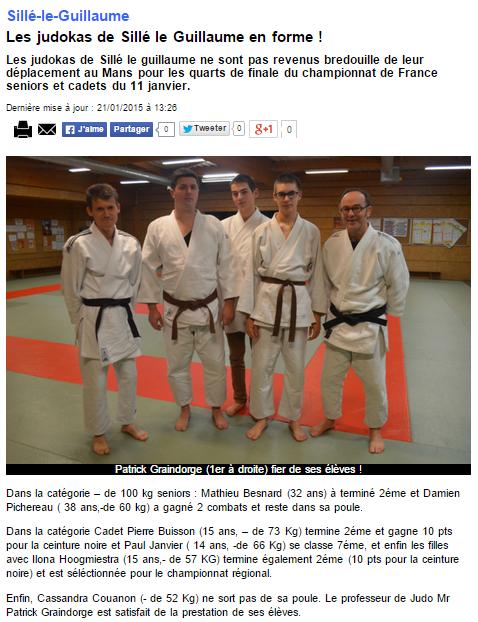 Alpes Mancelles 21/01/2015  Judo Sillé le Guillaume : Les judokas de Sillé le Guillaume en forme !