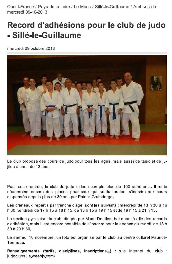 Ouest France 09/10/2013 Judo Sillé le Guillaume : Record d'adhésions pour le club de judo