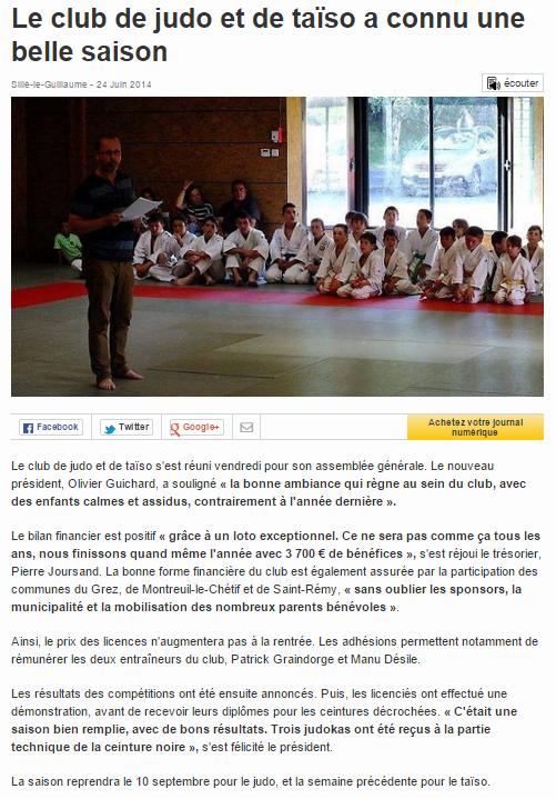 Ouest France 24/06/2014 Judo Sillé le Guillaume : Le club de judo et de taïso a connu une belle saison
