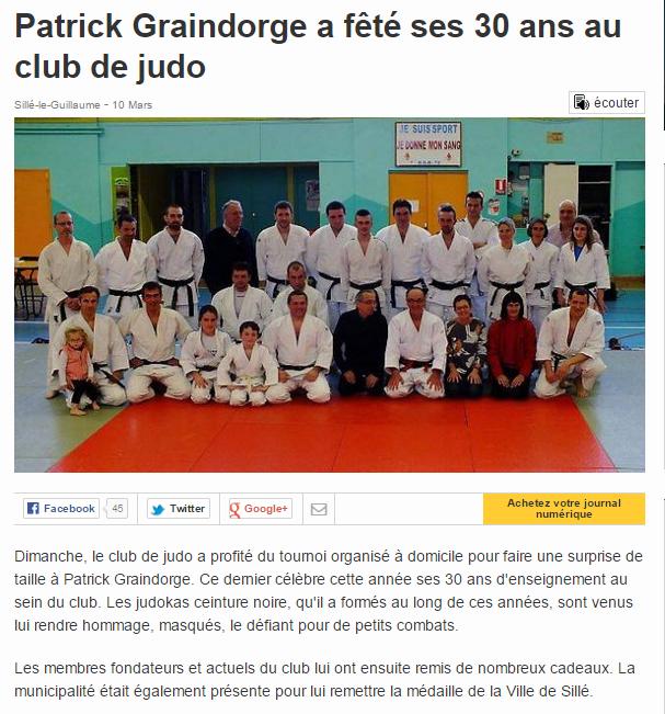 Ouest France 10/03/2015 Judo Sillé le Guillaume : Patrick Graindorge a fêté ses 30 ans au club de judo