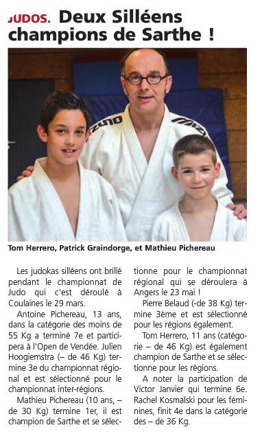 Alpes Mancelles 10/04/2015 Judo Sillé le Guillaume : Deux Silléens champions de la Sarthe !