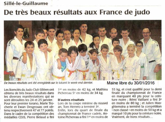 Maine Libre 30/01/2016 - Judo Sillé le Guillaume - De très beaux résultats aux France de Judo