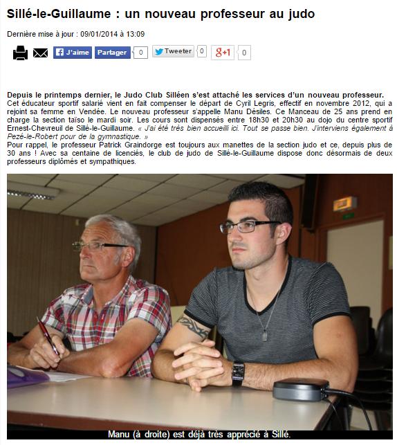 Alpes Mancelles 09/01/2014 Judo Sillé le Guillaume : un nouveau professeur au judo