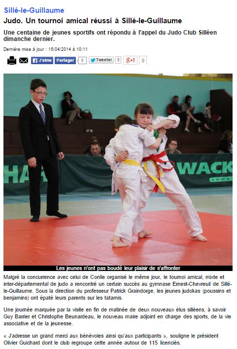 Alpes Mancelles 15/04/2014 Judo Sillé le Guillaume : Un tournoi amical réussi à Sillé le Guillaume