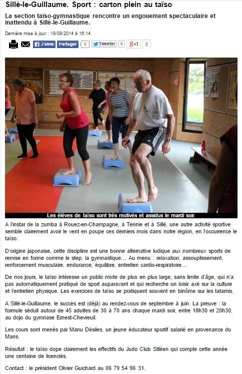 Alpes Mancelles 19/09/2014 Judo Sillé le Guillaume : Sport : Carton plein au Taïso
