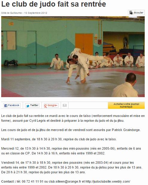Ouest France 10/09/2012 Judo Sillé le Guillaume : Le club de judo fait sa rentrée