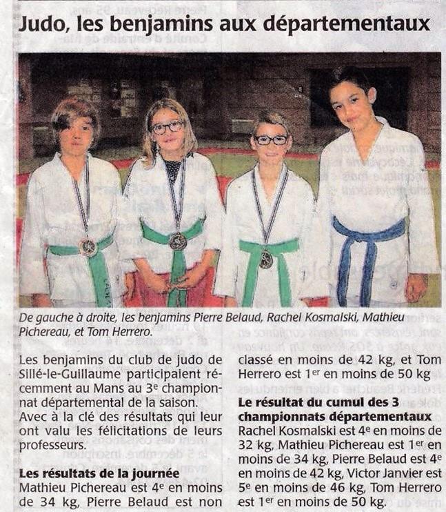 Maine Libre 26/11/2015 - Judo Sillé le Guillaume - Judo, les benjamins aux départementaux