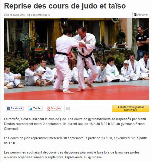 Ouest France 01/09/2014 Judo Sillé le Guillaume : Reprise des cours de judo et taïso