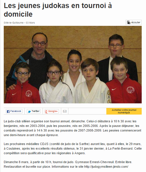 Ouest France 03/03//2015 Les jeunes judokas en tournoi à domicile