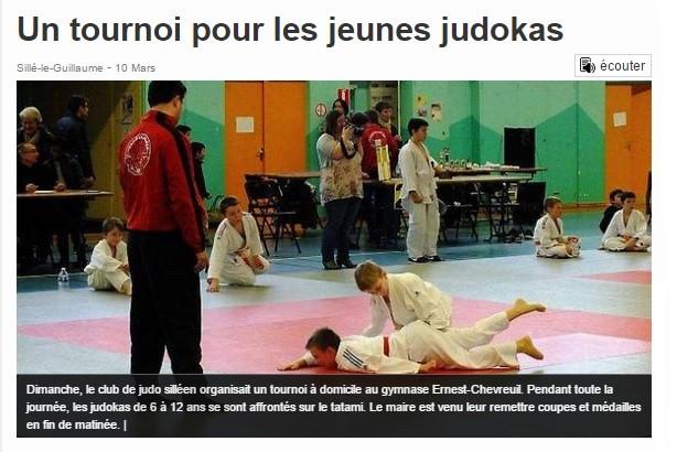Ouest France 10/03/2015 Judo Sillé le Guillaume : Un tournoi pour les jeunes judokas