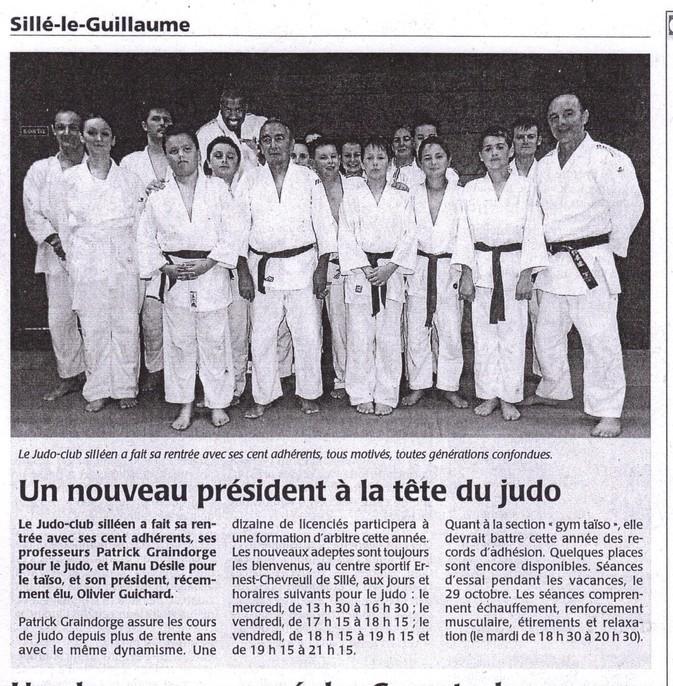 Maine Libre 10/2013 Judo de Sillé le Guillaume - Un nouveau président à la tête du judo