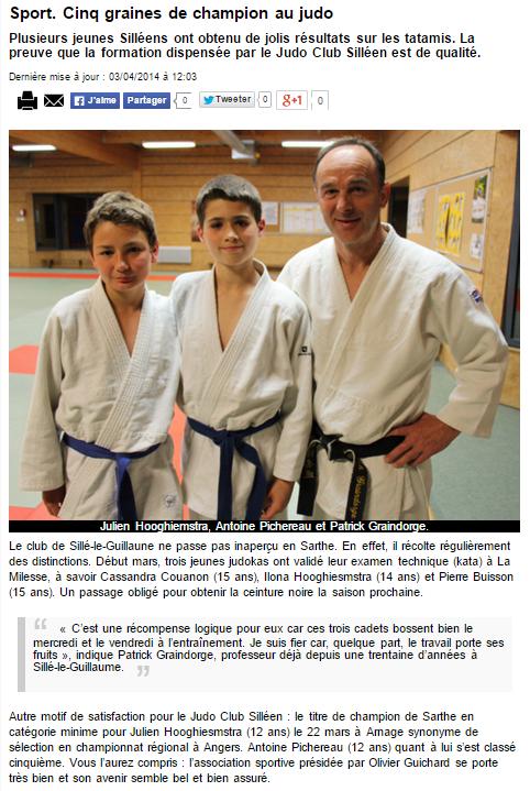 Alpes Mancelles 03/04/2014 Judo Sillé le Guillaume : Cinq graines de champion au judo