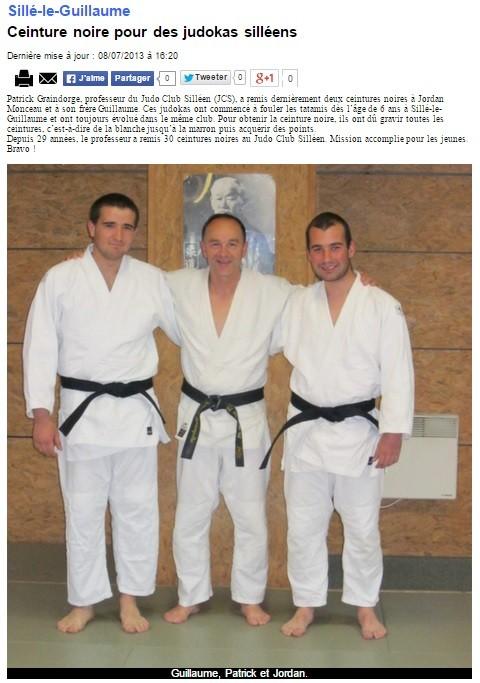 Alpes Mancelles 08/07/2013 Judo Sillé le Guillaume : Ceinture Noire pour des judokas silléens