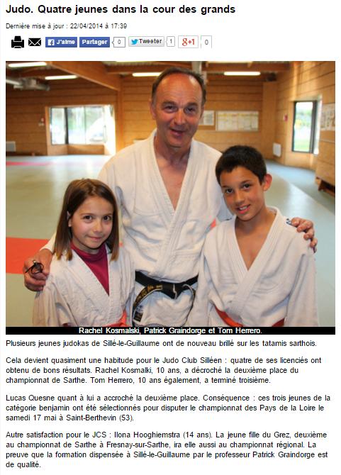 Alpes Mancelles 22/04/2014 Judo Sillé le Guillaume : Quatre jeunes dans la cour des grands