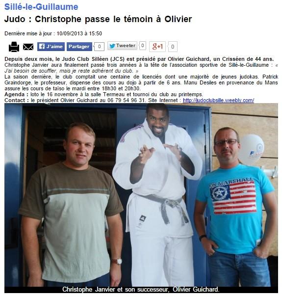 Alpes Mancelles 10/09/2013 Judo Sillé le Guillaume : Christophe passe le témoin à Olivier