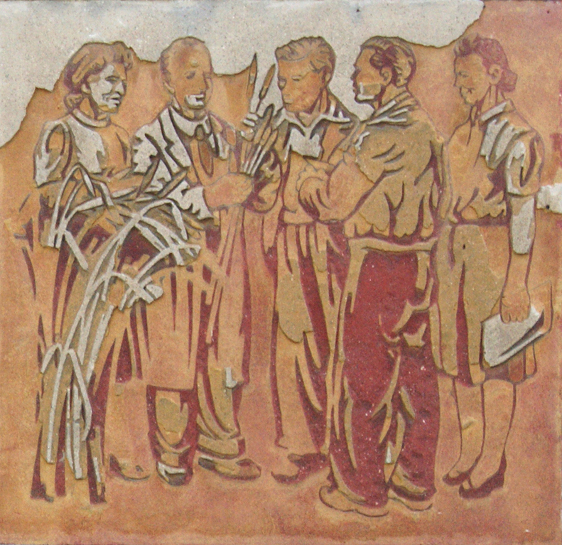 das Sgraffitto gilt als das erste bauwerksbezogene Kunstwerk nach dem 2. Weltkrieg im Greifswalder Stadtgebiet