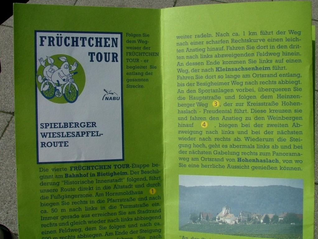 Auschnitte aus der Broschüre zur Wieslesapfel Route