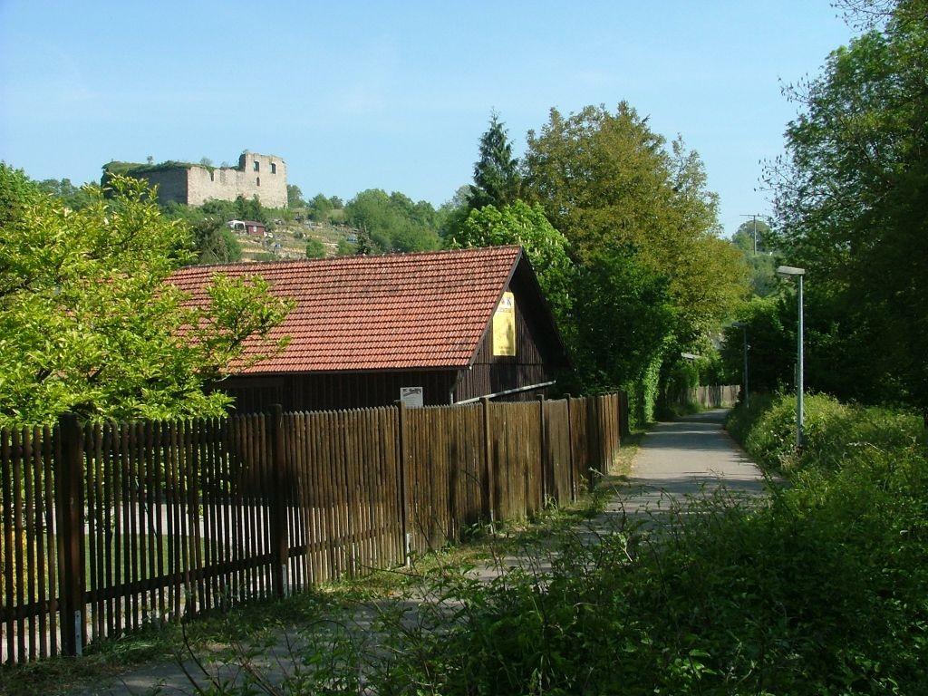 Mit Blick nach links sehen Sie die Ruine Altsachsenheim.