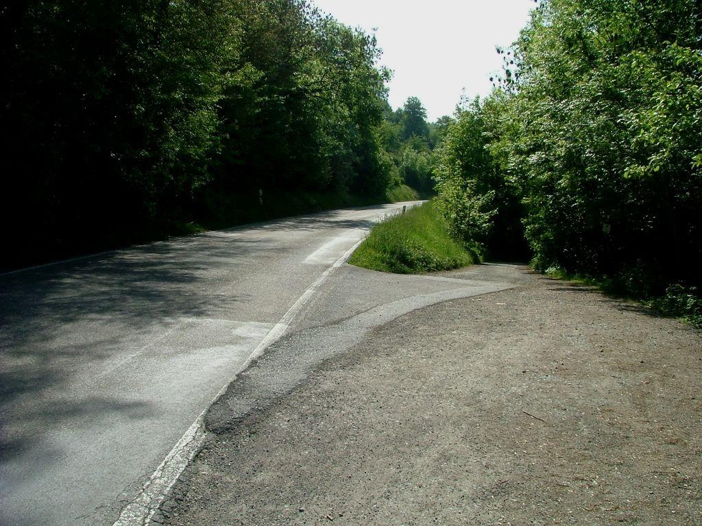 Hier biegen Sie rechts ab, von der Landstraße auf wieder auf den Enztalradweg.