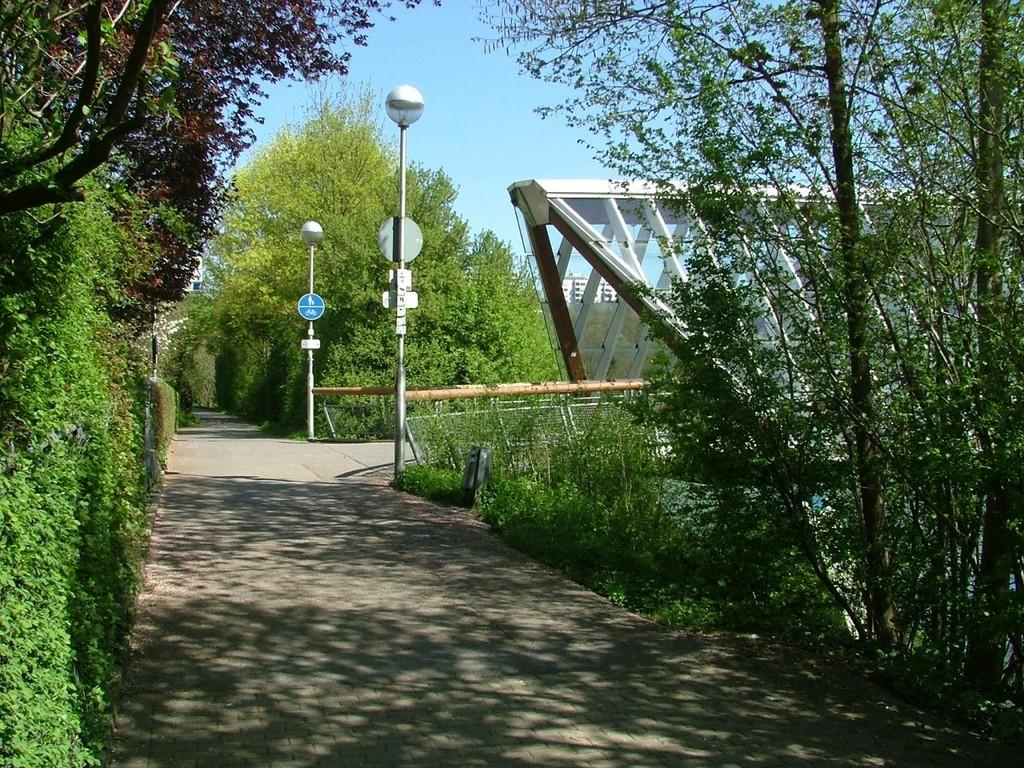 Über zwei Brücken führt der Radweg über den Neckar