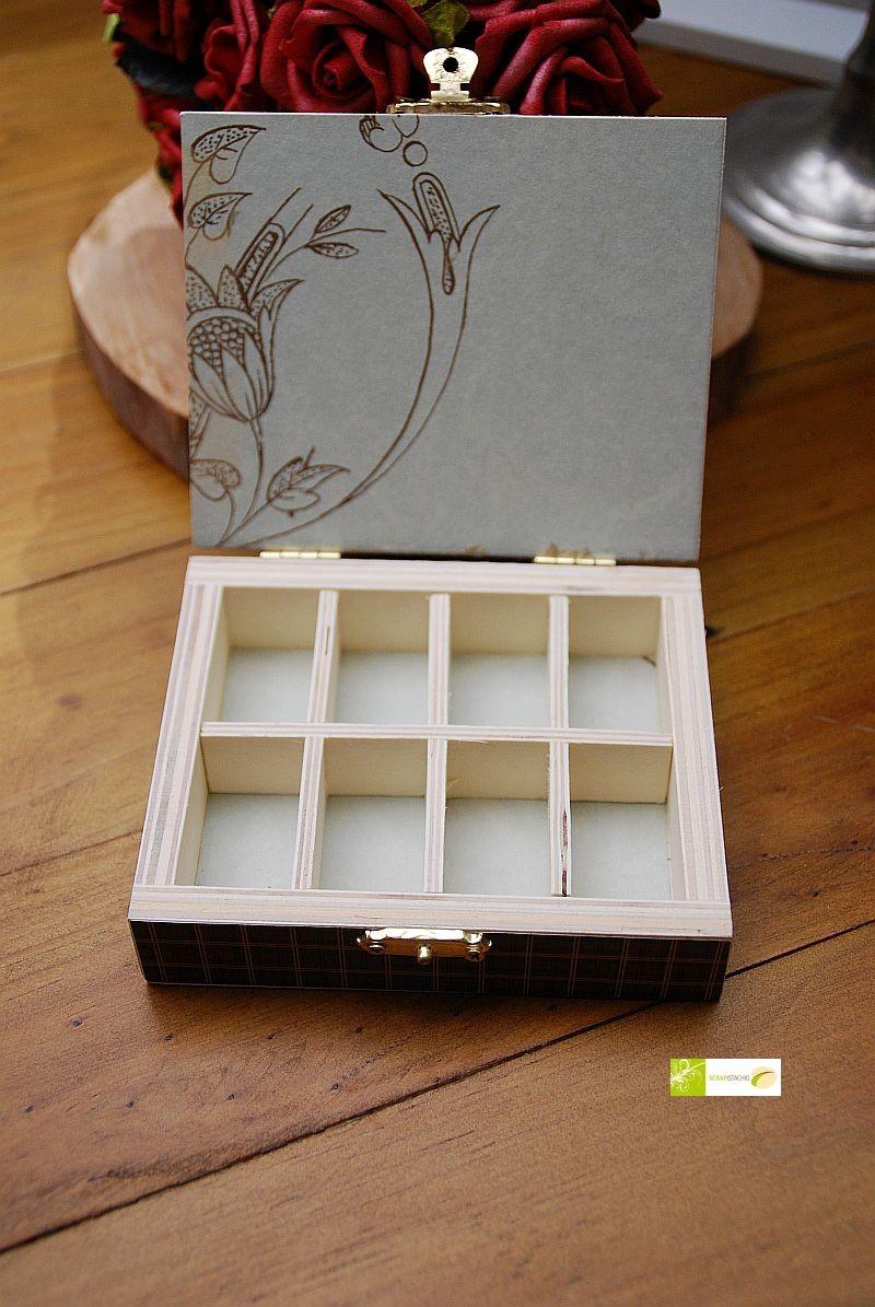 Holzkästchen mit herausnehmbarer Inneneinteilung (8er oder 12er)