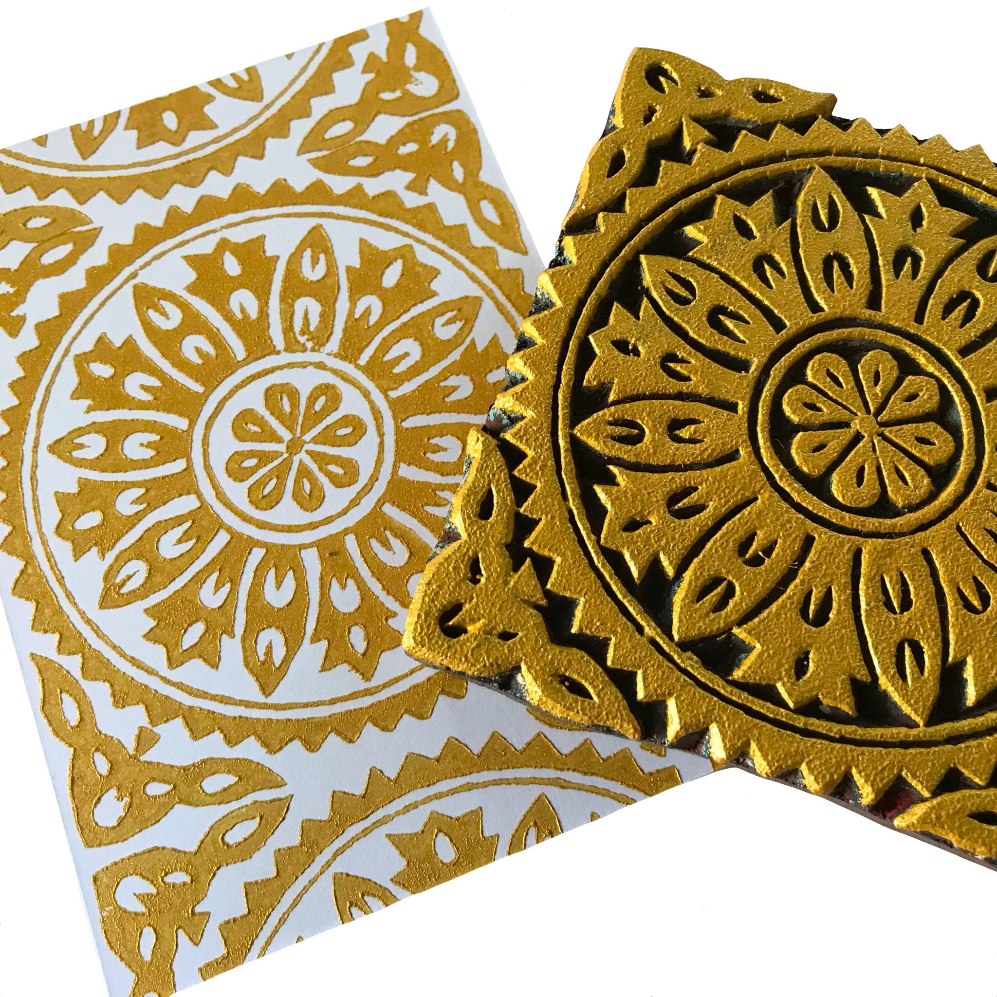 Papier, Postkarten selber bedrucken mit indischen Holzstempel