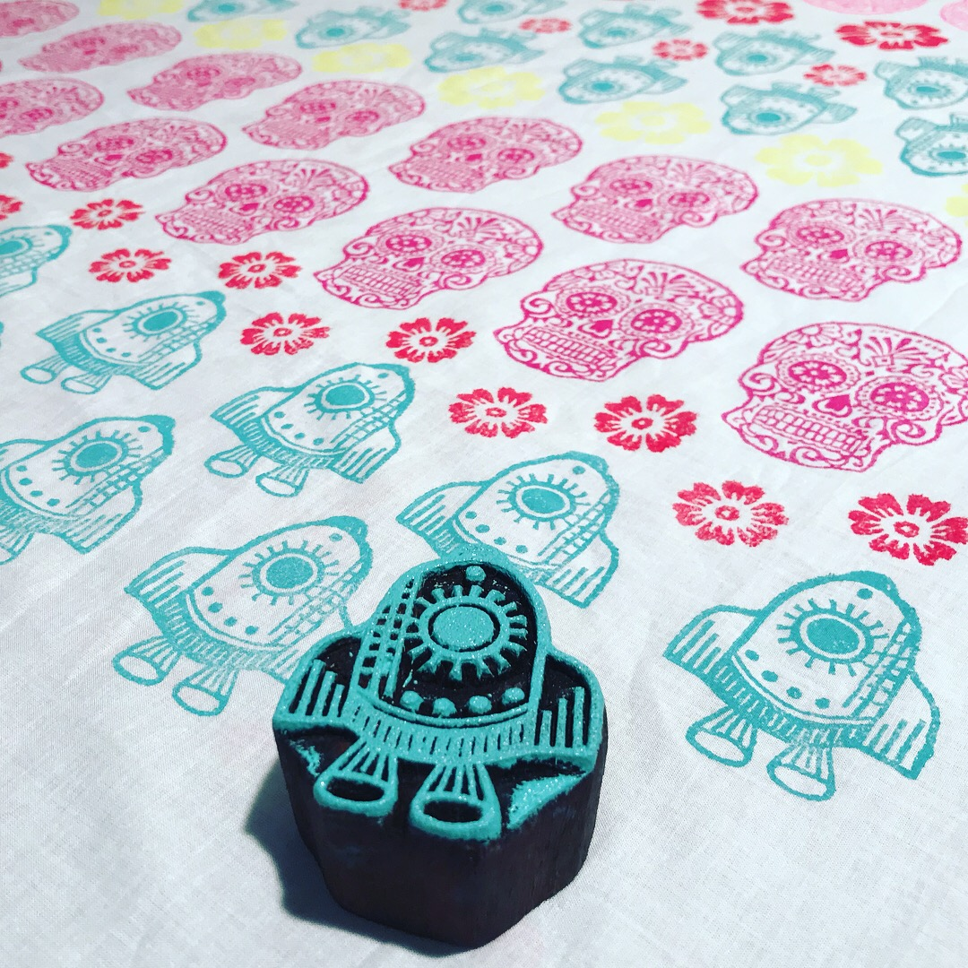 Textilien, Stoffe selber bedrucken mit indischen Holzstempel