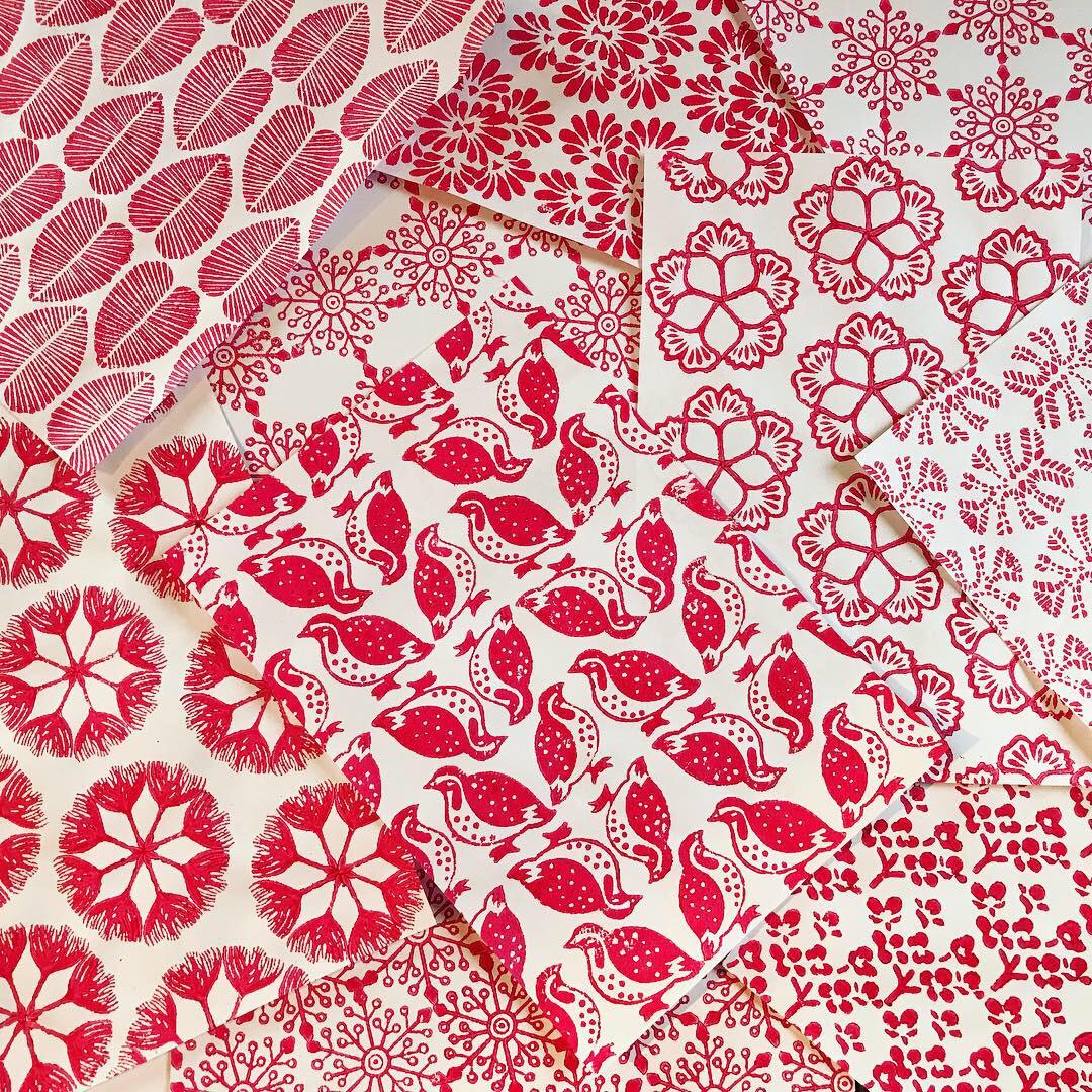Papier und Stoff bedrucken mit indischen Holzstempel