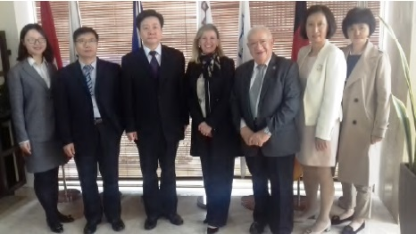L-R: Ms Ning Jia, Dr Sun Shengzhi, Dr Sun Shuxian, Ms Antonella Vassallo, Dr Awni Behnam, Dr Wang Juying, Hu Songqin. Photo credit: IOI HQ