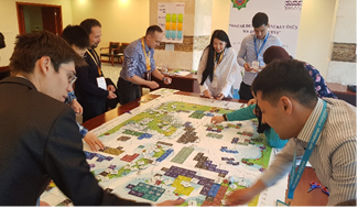 Participants during the MSP challenge interactive game. Image credit: Selbi Gurbannyyazova