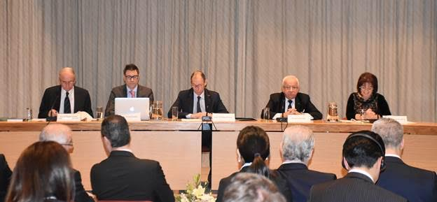 L-R: HE Ambassador Judge Emeritus H Türk, Prof J Kraska, Prof P Gautier, Dr A Behnam and Panel Moderator, HE Prof S Borg. Photo Credit: Ministry for Foreign Affairs and Trade Promotion, Government of Malta
