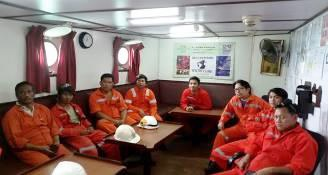 IOI SINGAPORE (FP): Ship crew aboard 'The ASIAN WARRIOR' attending a briefing about IOI and its contribution towards the Ocean Welfare