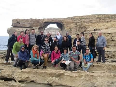 The group on a second fieldtrip in Dwejra, Gozo