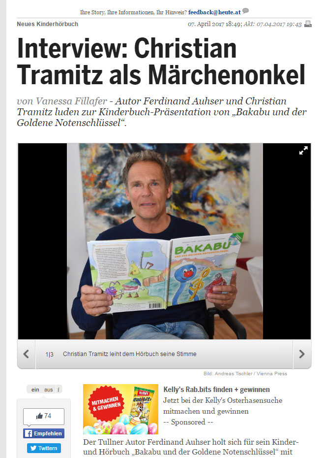 """Christian Tramitz bei der Präsentation """"Bakabu und der Goldene Notenschlüssel"""" (Autor: Ferdinand Auhser, Illustrationen: Cecile M. Lederer, Musik & Klänge: Manfred Schweng)"""