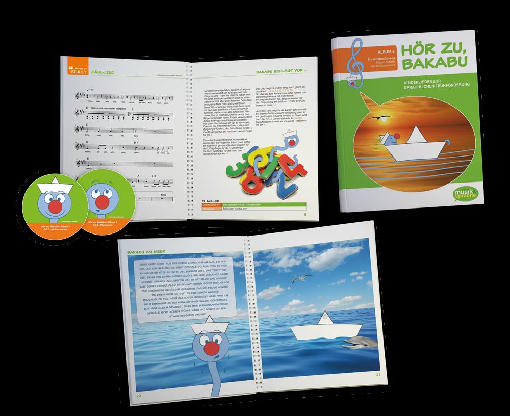 Die Texte und Noten der Kinderlieder sind im Buch dargestellt