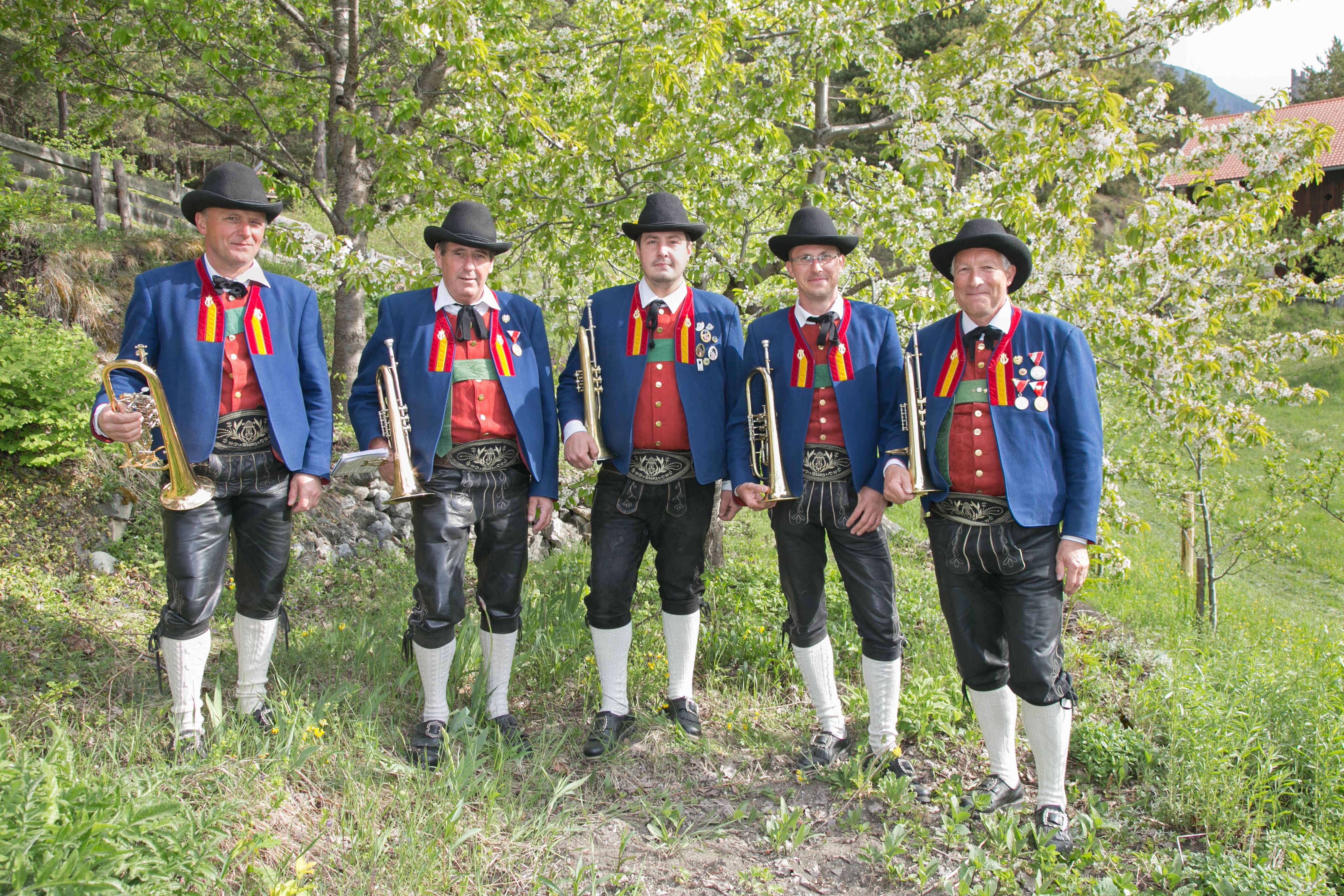 (von rechts): Schütz Gebhard, Nothdurfter Simon, Senn Alfred, Gruber Franz (im Bild nicht zu sehen: Senn Hugo)