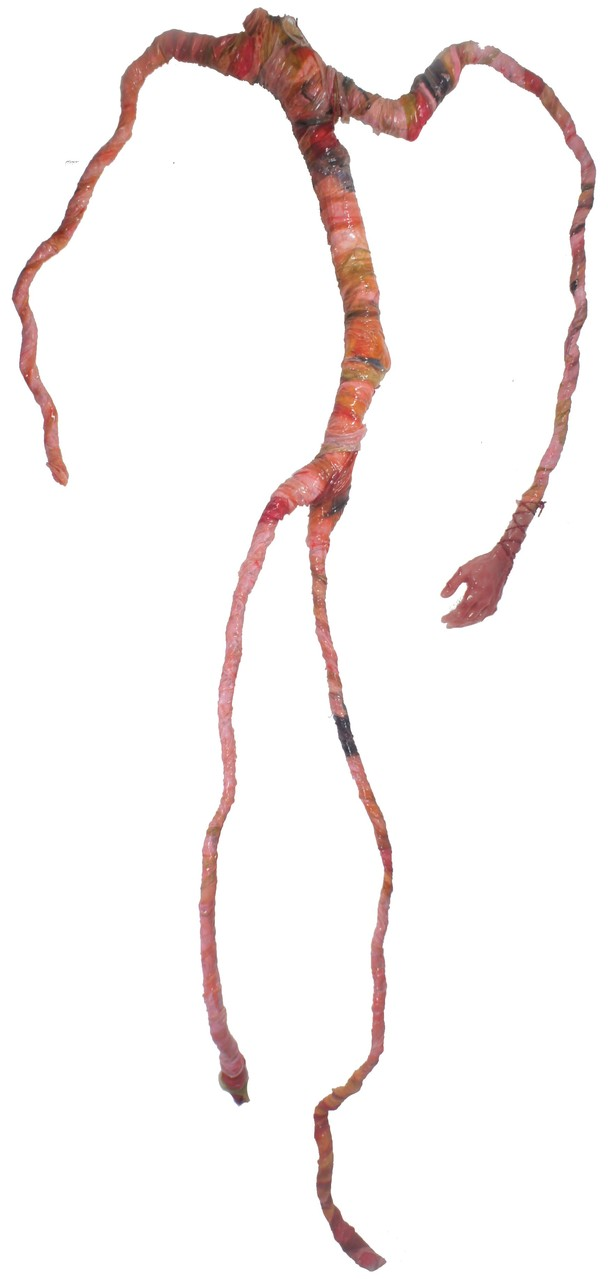 Drahtige Fleischhaut (mit Hand). Silikon, Seide, Draht, Holz, u.a., ca. 2 m
