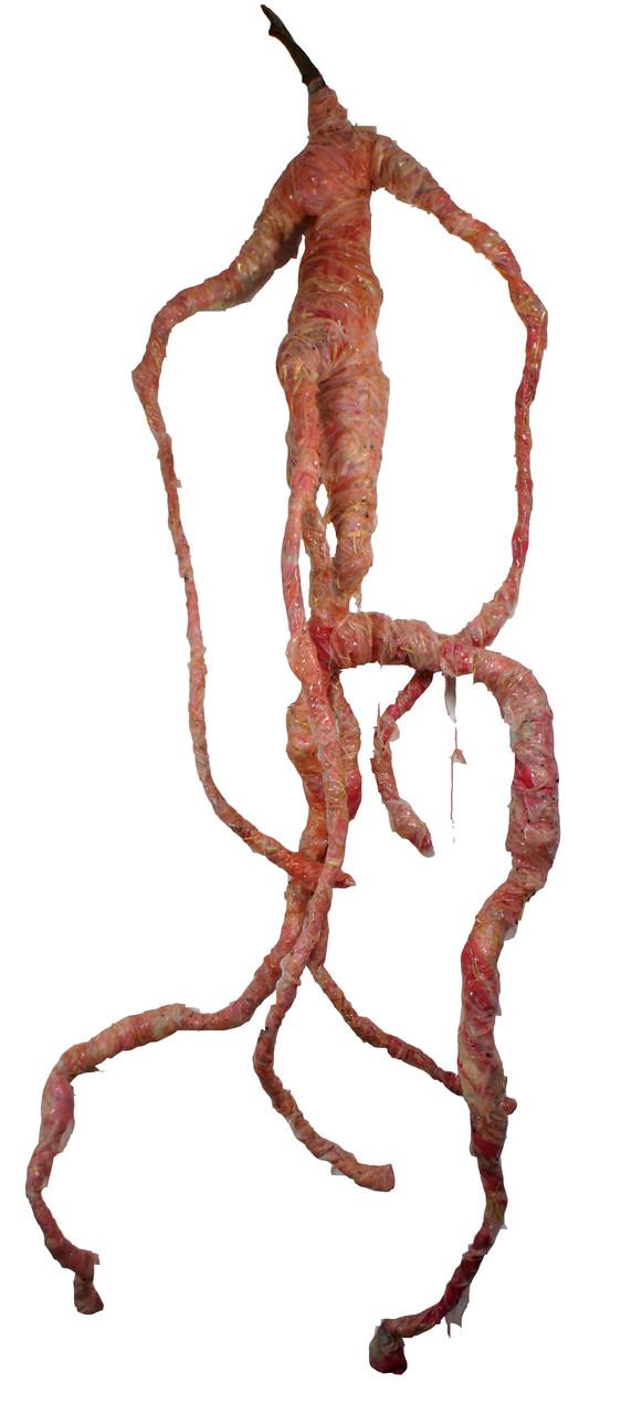 Wurzelwesen ohne Verstand. Silikon, Seide, Daraht, Holz, u.a., ca. 2 m