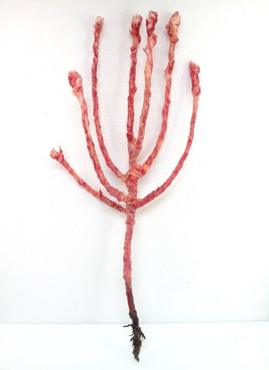 Birnbaum, Holz, Gips, Silkion, Seide, u.a. 143 x 52 x 23 cm
