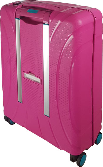 Rückseite American Tourister pink: Reisetrolley mit 4 Rollen