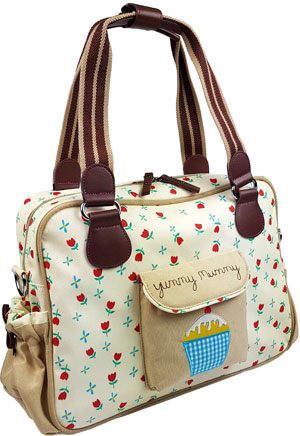 "beige Wickeltasche Yummy Mummy ""tulips and forget me nots"""