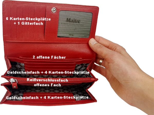 Fächeraufteilung rote Geldbörse Damen Maitre Faccio Diedburg