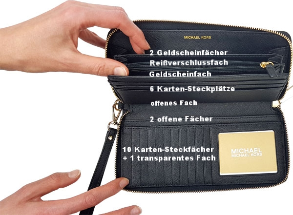 Fächeraufteilung des Michael Kors Portemonnaie schwarz