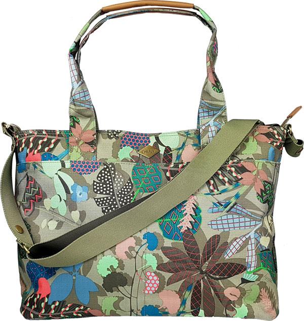 grüne Wickeltasche Oilily mit Umhängegurt und Handgriffen