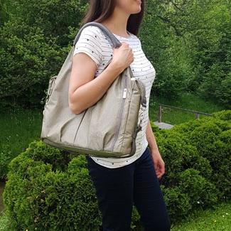 Wickeltasche Empfehlung, Lässig Green Label Neckline Bag, Wickeltasche wie Handtasche