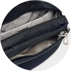sichere Tasche Pacsafe Vibe 100  unterteiltes Hauptfach und Vorderfach mit Schlüsselkarabiner