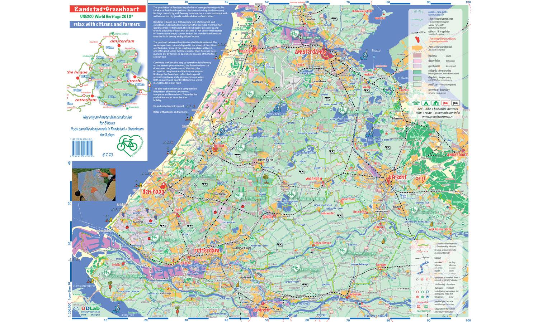 <b>Randstad – Oldschool fietskaart</b> Papieren routekaarten zijn niet meer van deze tijd. Maar tegen deze fietskaart kan geen app of gps-apparaat op. (2/2016)