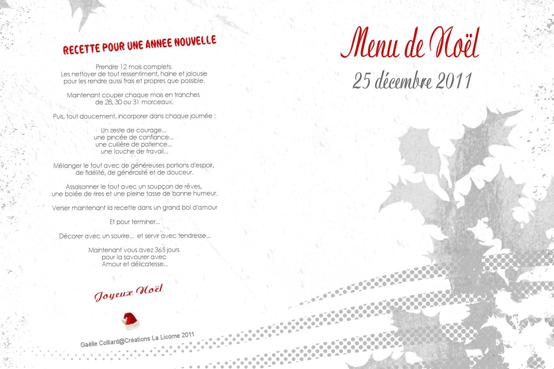 Un Bon Menu De Noel.Carte De Menu Un Moment Pour Soi