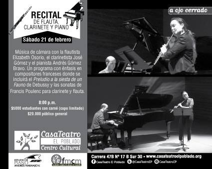 Recital de flauta,  clarinete y piano