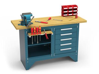 Werkbank kaufen, bestückt mit Werkzeug